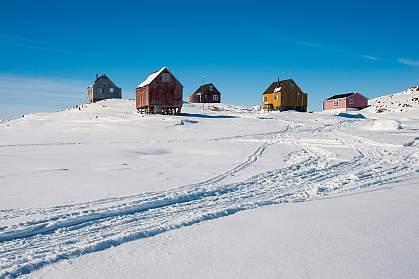 Homes in Kulusuk, Greenland.