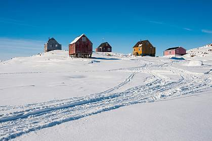 Homes in Kulusuk, Greenland.